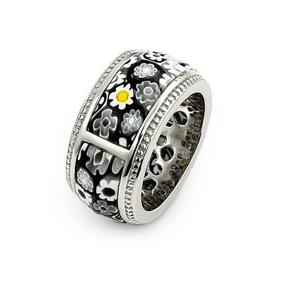 Millefiori Sterling Silver Segmented Band Glass Ring