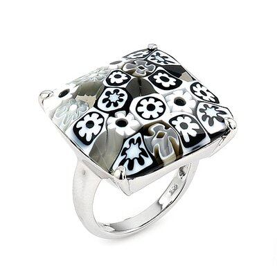 Millefiori Sterling Silver Faceted Square Glass Ring