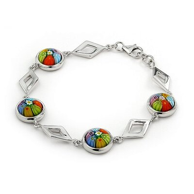 Plutus Partners Millefiori Cut Out Diamond Link Bracelet