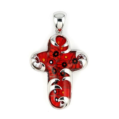 Sterling Silver Millefiori Glass Cross Pendant