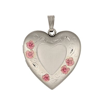 Sterling Silver Flower Engravable Heart Locket