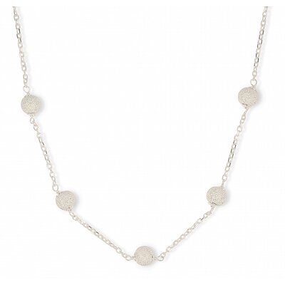 Sterling Silver Pave Ball Link Necklace