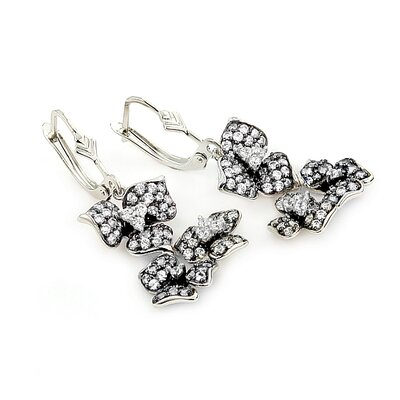 Ferroni Swarovski Elements Zirconia Flower Drop Earrings