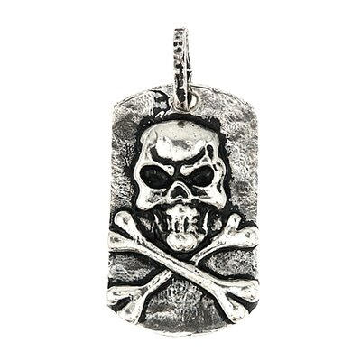 Sterling Silver Skull Dog Tag Pendant