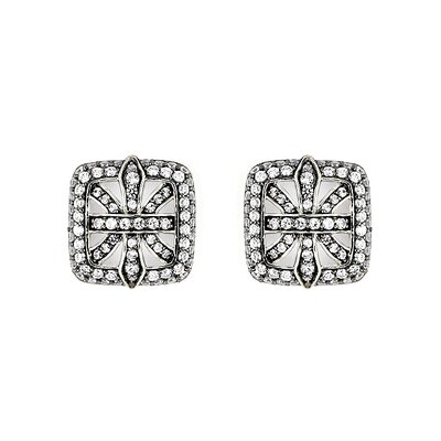 Ferroni Swarovski Elements Zirconia Fleur De Lis Stud Earrings