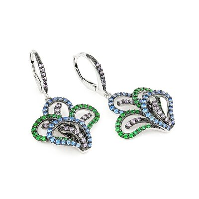 Ferroni Swarovski Elements Zirconia Flowerette Hoop Earrings