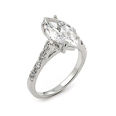 Wedding Sterling Silver Marquise Cubic Zirconia Solitaire Ring