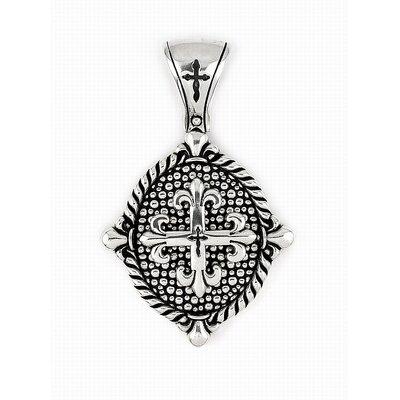 Twisted Blade Silver Oval Fleur De Lis Cross Pendant