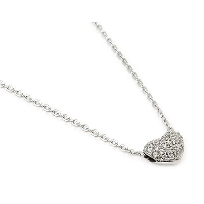Sterling Silver Cubic Zirconia Double Sided Heart Slider Adjustable Necklace