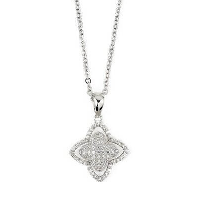 Sterling Silver Micro Pave Cubic Zirconia Flower Adjustable Necklace