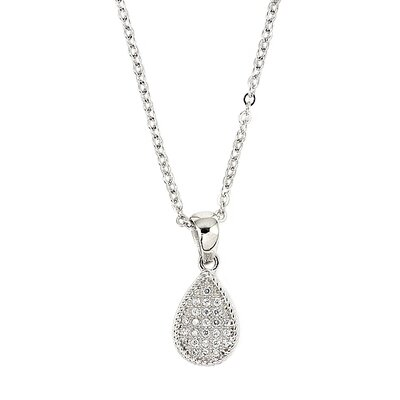 Sterling Silver Micro Pave Cubic Zirconia Drop Adjustable Necklace
