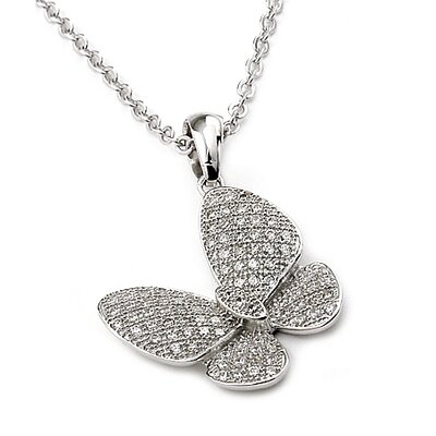 Sterling Silver Micro Pave Cubic Zirconia Butterfly Adjustable Necklace