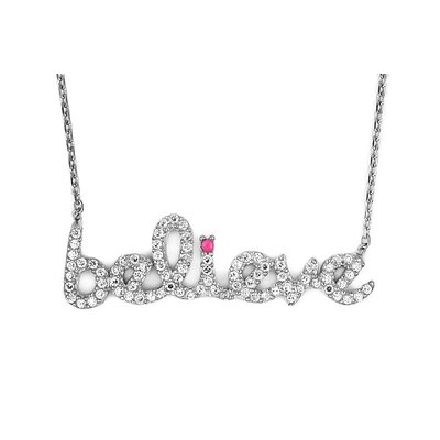 Sterling Silver Believe Cubic Zirconia Adjustable Necklace