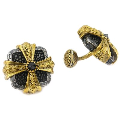 Plutus Partners Hematite Stingray Leather Cross Design Cufflinks