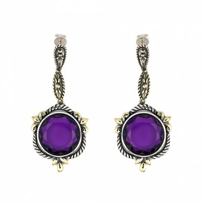 Signature Authentico Amethyst Semi Precious Stone Drop Earrings