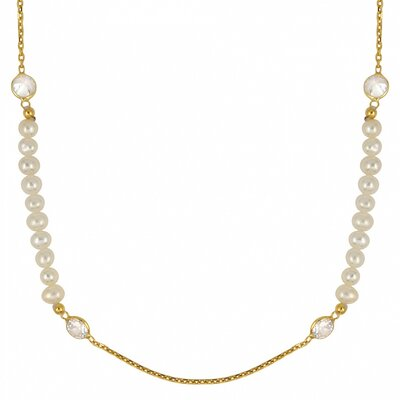 Sterling Silver Fresh Water Cultured Pearl Beads and Cubic Zirconia Necklace