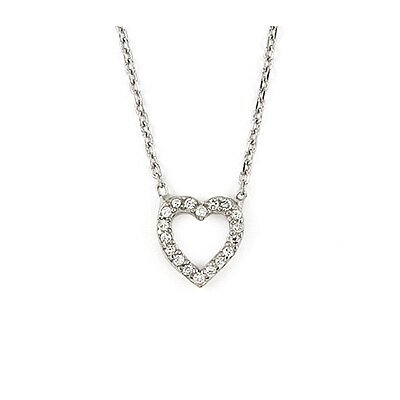 Sterling Silver Cut Out Cubic Zirconia Heart Necklace