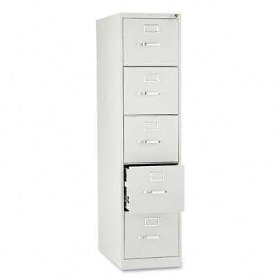 HON 310 Series Five-Drawer, Full-Suspension File, Letter, 26-1/2d, Lt GY