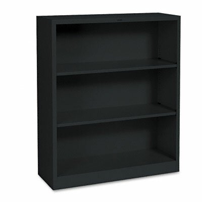 HON Metal Bookcase, 3 Shelves, 34-1/2w x 12-5/8d x 41h, Black