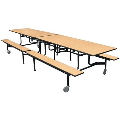 "HON Rectangular Table, w/ Benches, 144""x30""x29"", Natural Maple/Black"