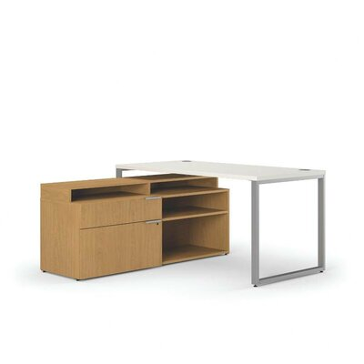 HON Voi L-Shaped Workstation with Stack on Storage