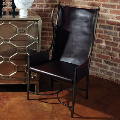 Global Views Iron / Leather Wing Arm Chair