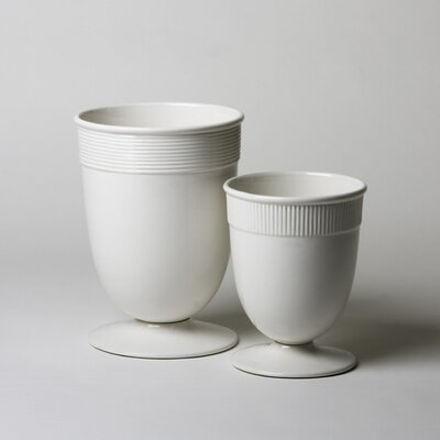 Banded Ceramic Vase in White