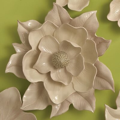 Global Views Magnolia Wall Flower Decorative Accent in Ivory