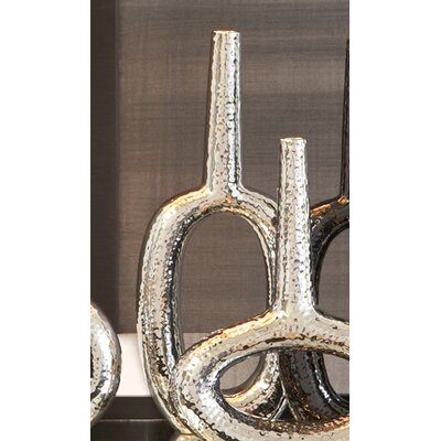 Global Views Keyhole Vertical Vase in Silver