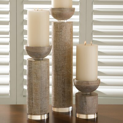 Global Views Scratched Pillar Candle Holder