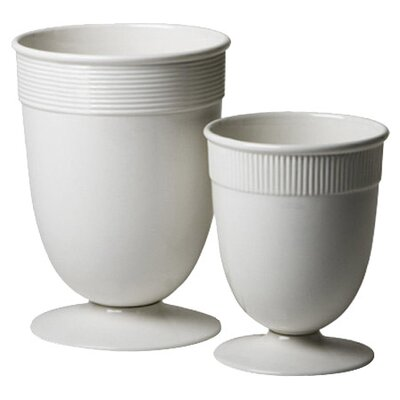 Global Views Banded Ceramic Vase in White