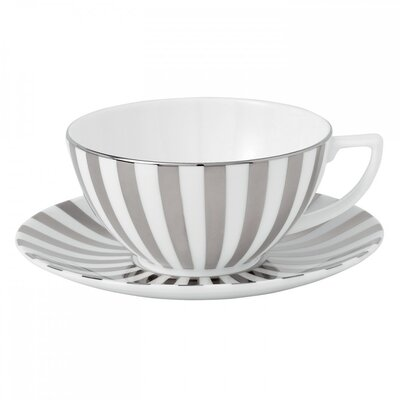 Jasper Conran Platinum Fine Bone China Striped Teacup