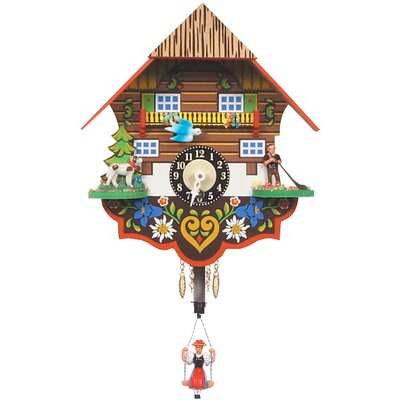 "Black Forest Chalet Carved 8"" Clock with Swinging Girl"