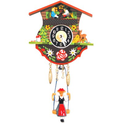 Black Forest Clock with Swinging Girl and Chimes