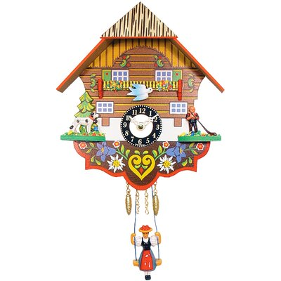 Black Forest Clock with Swinging Girl and Chimes or Cuckoo Options