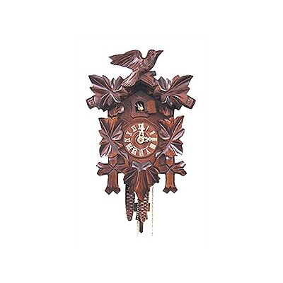Black Forest Cuckoo Clock with Leaf Detail and Walnut Finish