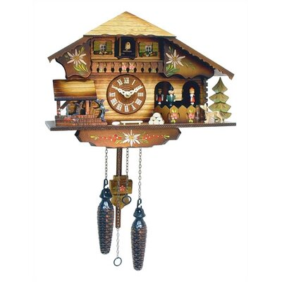 Black Forest Chalet Clock with Dancer and Water Wheel