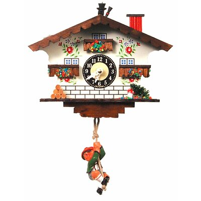 Black Forest Clock with Swinging Boy and Chimneysweep