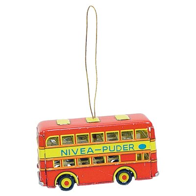 Alexander Taron Tin Double Decker Bus Ornament
