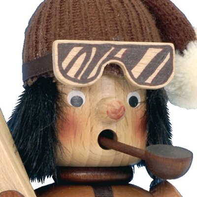 Alexander Taron Christian Ulbricht and Seiffener Skier Incense Burner in Natural Wood