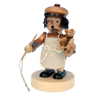 Alexander Taron Seiffener Nussknackerhaus Teddy-Bear Maker Incense Burner in Natural