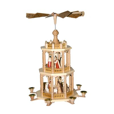 Richard Glaesser 3 Tier Wood Nativity Scene Pyramid
