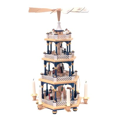Richard Glaesser 4 Tier Wood Nativity Scene with Blue Accents Pyramid