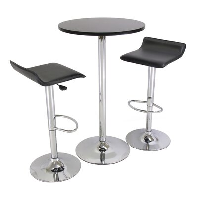 "Winsome 3-Piece 24"" Pub Table Set with Chrome Accents"