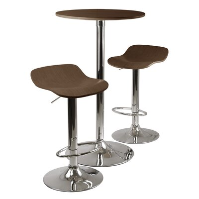 Winsome Kallie 3 Piece Pub Table and Stools Set in Cappuccino