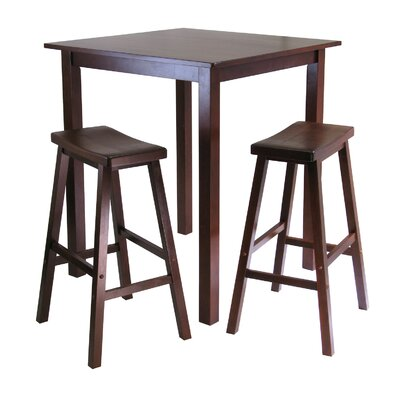 Winsome Parkland 3 Piece Table with 2 Saddle Seat Stools Set