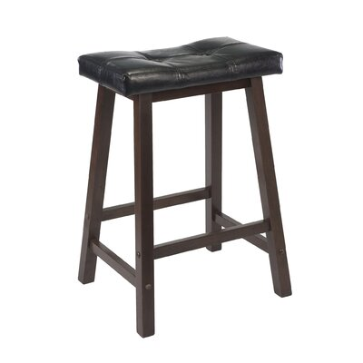 "Winsome Mona 24"" Saddle Seat Stool with Cushion in Antique Walnut"