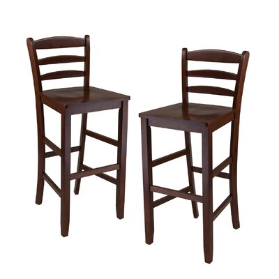 "Winsome Ladder Back 30"" High Chair in Antique Walnut (Set of 2)"