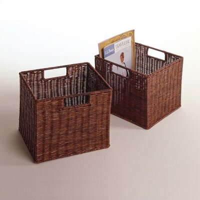 Winsome Set of 2 Espresso Small Storage Baskets