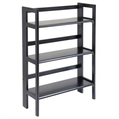 "Winsome Basics 39"" H Black Folding Three Tier Bookshelf"